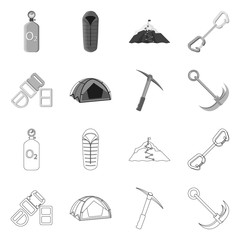 Isolated object of mountaineering and peak icon. Collection of mountaineering and camp stock vector illustration.