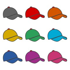 Cap icon or logo, Baseball Hat Icon, color set