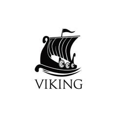 Viking Ship Logo Symbol Illustration