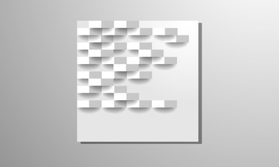 Abstract . Embossed geometric square white background ,light and shadow .Vecto