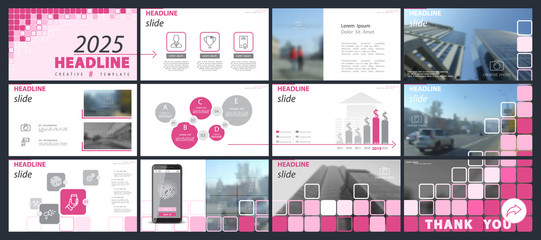 Template presentation. Pink, blue, white background. Multipurpose template for slides, business infographics. Postcard, postcard, corporate report, marketing, advertising, annual report, digital
