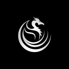 Silver Dragon Tribal Logo Sign Symbol Icon