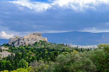 Greece, acropolis citadel and Athens cityscape panoramic view