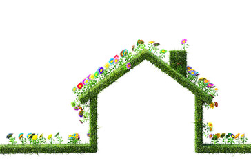 eco house concept made of grass and flowers