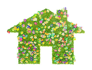an eco house concept made of grass and flowers