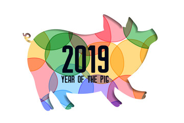 colorful papercut pig for 2019 happy chinese new year