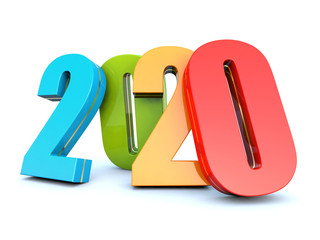 Happy New Year 2020 colorful calendar background