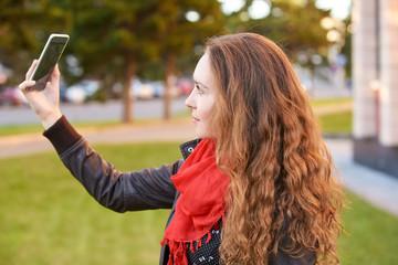 Young woman smile portrait. Self make photo