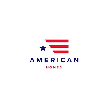 american flag house home mortgage logo vector icon