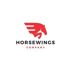 horse wing pegasus logo vector icon illustration