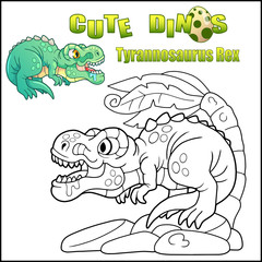 cartoon cute dinosaur tyrannosaurus rex, coloring book, funny illustration