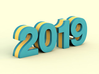 Happy New Year 2019 blue text calendar background 3D render