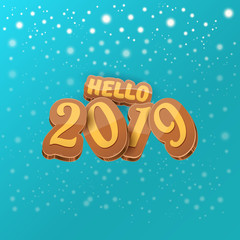 Hello 2019 Happy new year creative design background or greeting card with colorful numbers. Happy new year label or icon isolated on night sky background with stars
