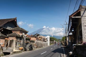 Eruption of volcano Agung in Bali island
