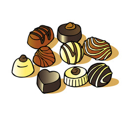 Belgian pralines traditional chocolate candy clipart