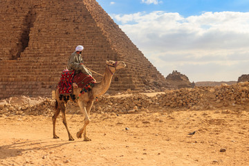 Bedouin riding camel near Great Pyramids of Giza in Cairo, Egypt
