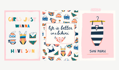 Various swimsuits. Set of three summer greeting cards. Hand drawn colored vector illustrations. Every card is isolated