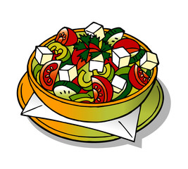 vegetable salad typical Bulgarian cuisine clipart