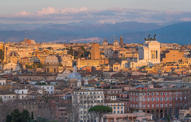 Panorama from the Gianicolo Terrace with the Altare della Patria, in Rome, Italy.