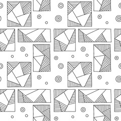 Seamless vector pattern. Black and white geometrical hand drawn background with rectangles, squares, triangles, dots. Print for wallpaper, packaging, wrapping, fabric. Line drawing, graphic design