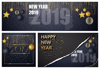 Happy new year design layout on black background with 2019. Big set greeting card design template.