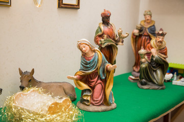 horizontal image with close up detail of a nativity scene