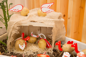 horizontal image with detail of a nice nativity scene made with potatoes
