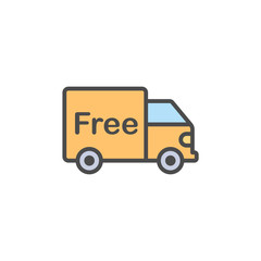 Free shipping flat vector icon sign symbol