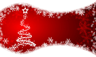 Christmas tree on a red snowy background