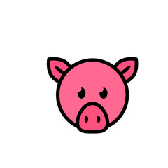 Pig head flat vector icon sign symbol