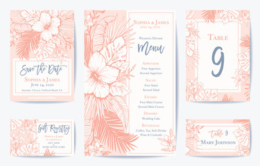 Vector Retro Floral Exotic Tropical Wedding Save the Date, Menu Card Set. See portfolio for matching invitation set