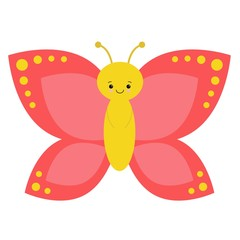 Cartoon Butterfly Characters on a White Background