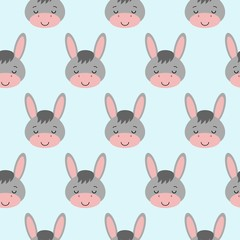 Seamless background design with gray cute donkeys illustration