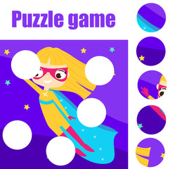 Educational children game. Puzzle for toddlers. Match pieces and complete the picture. Supergirl fly