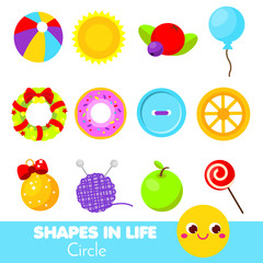Shapes in life. Circle. Learning cards for kids. Educational infographic for children and toddlers. Study geometric shapes
