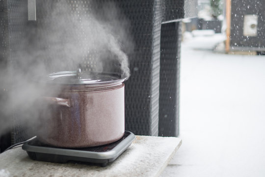 Goulash cooking in winter