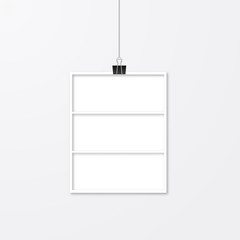 Realistic isolated white paper photo frame hanging with binder clips. Template collage vector illustration. Mock up for photographers.