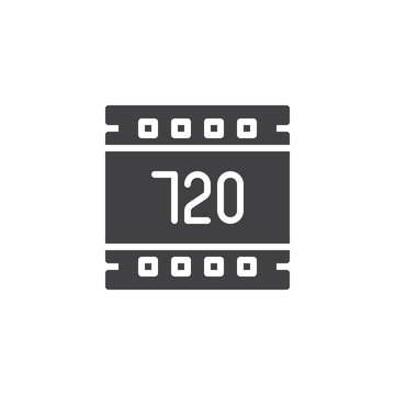 720 pixels resolution vector icon. filled flat sign for mobile concept and web design. Hd 720 pixels film strip simple solid icon. Symbol, logo illustration. Pixel perfect vector graphics