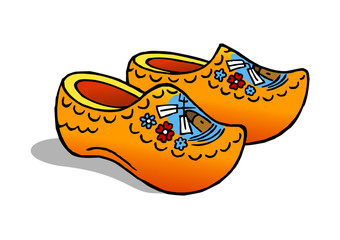 Holland traditional painted clogs with windmill and flowers clipart