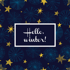 Cute winter card with decorative snowflakes and stars.