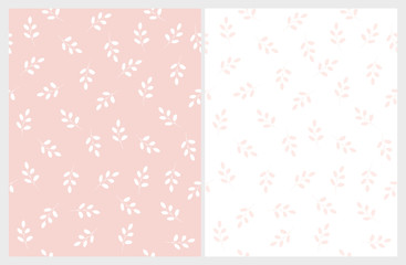 Bright Hand Drawn Leaves Vector Patterns. Light Pink and White Color Design. Floral Repeatable Patterns. Pastel Colors. Light Pink and Whte Background. Simple Abstract Twigs.