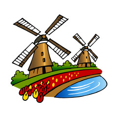 windmills and tulips the best of Holland traditional symbols clipart