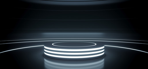 Sci Fi Modern Hi Tech Empty Podium Lighter Round Circle Stage In Dark Reflective Room With Neon Glowing Circle Lines Product Showcase 3D Rendering Wall mural