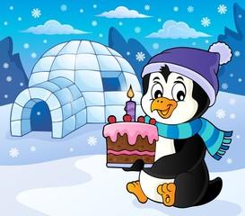 Penguin holding cake theme image 5