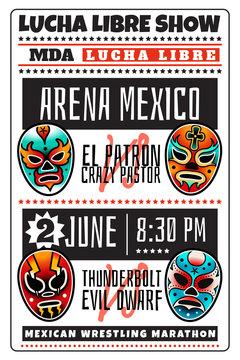 Lucha libre luchador wrestling show masks poster