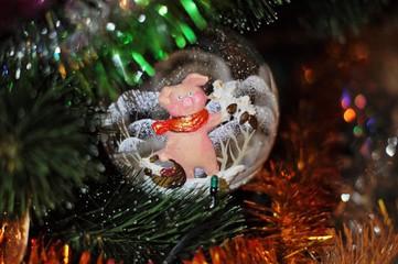 Стеклянный шар с изображением поросёнка на новогодней ёлке