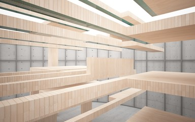 Abstract interior of wood, glass and concrete. 3D illustration. rendering