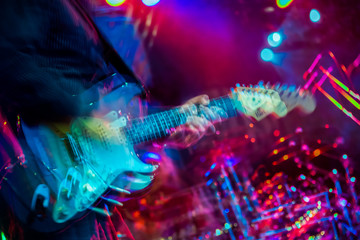 Electric guitar player shaky blurred multiples exposure