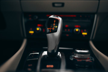Car gearbox shift knob in parking position