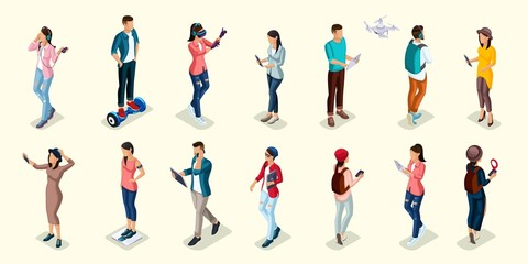 Trendy Isometric people and gadgets, teenagers, young people, students, using hi tech technology, mobile phones, pad, laptops, make selfie, smart watches, virtual games, navigators